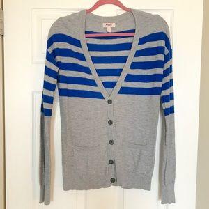 Grey & Blue Striped Cardigan